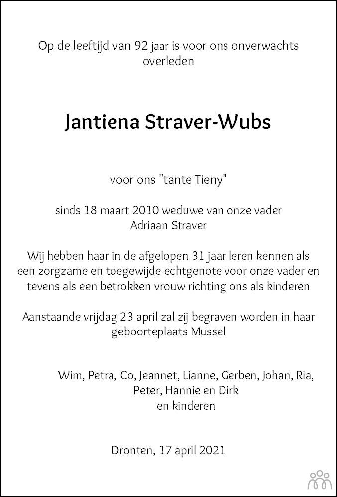 Overlijdensbericht van Jantiena Straver-Wubs in Flevopost Dronten