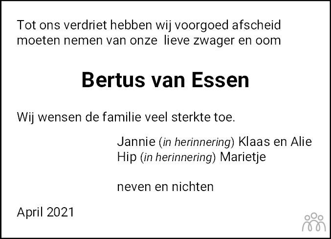 Overlijdensbericht van Lambertus (Bertus) van Essen in Hoogeveensche Courant