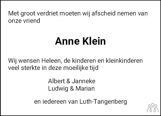 Overlijdensbericht van Anne Klein in Dagblad van het Noorden