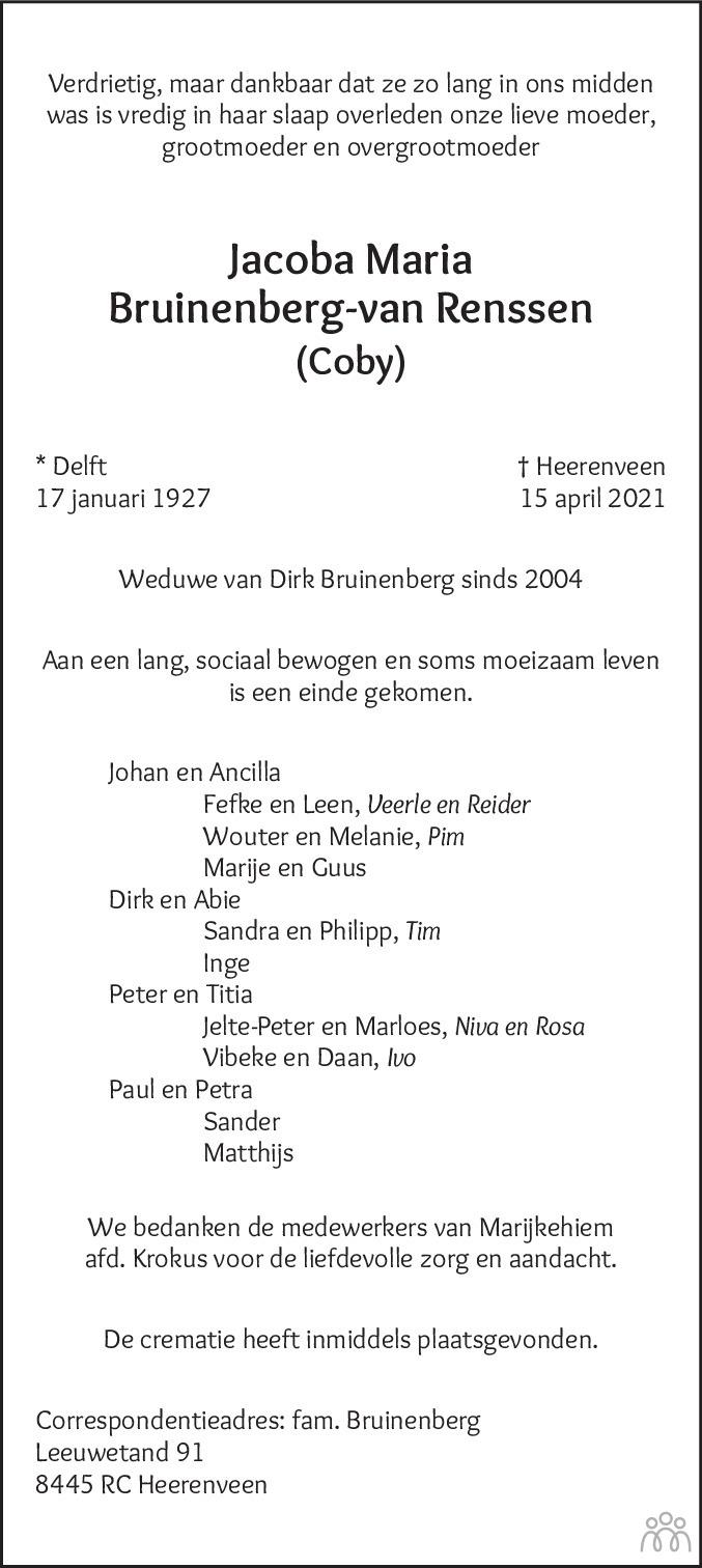 Overlijdensbericht van Jacoba Maria (Coby) Bruinenberg-van Renssen in Heerenveense Courant