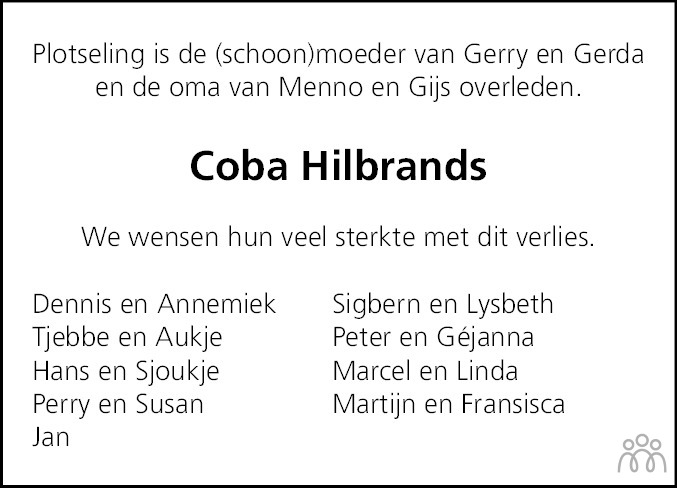 Overlijdensbericht van Jacoba (Coba) Hilbrands-Phefferkorn in Jouster Courant