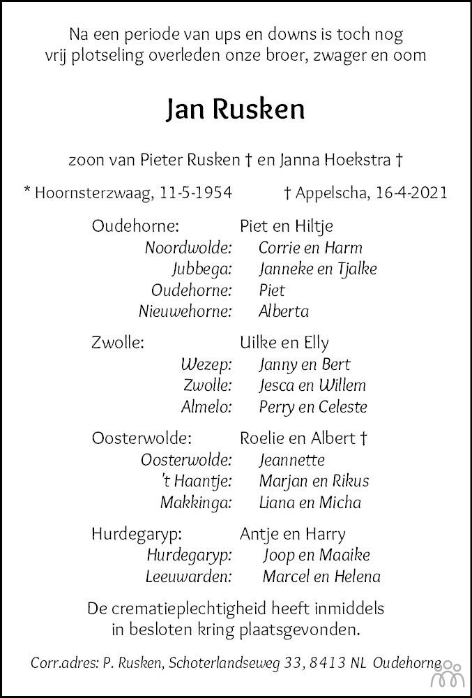Overlijdensbericht van Jan Rusken in Nieuwe Ooststellingwerver