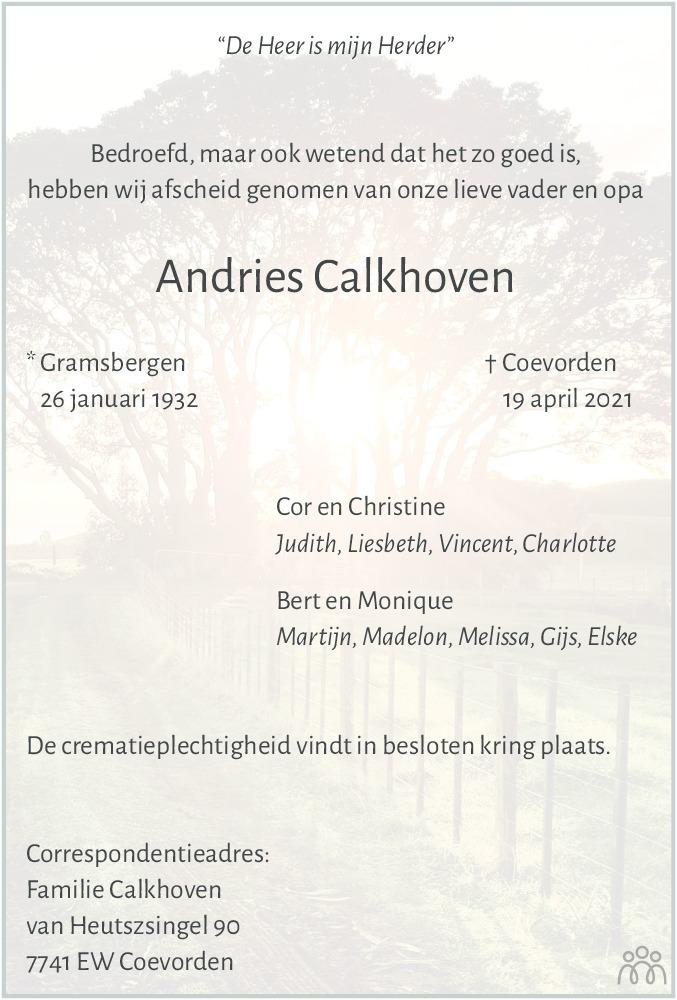 Overlijdensbericht van Andries Calkhoven in Dagblad van het Noorden
