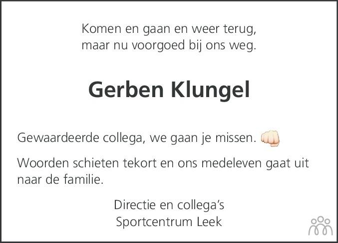 Overlijdensbericht van Gerben Klungel in Dagblad van het Noorden