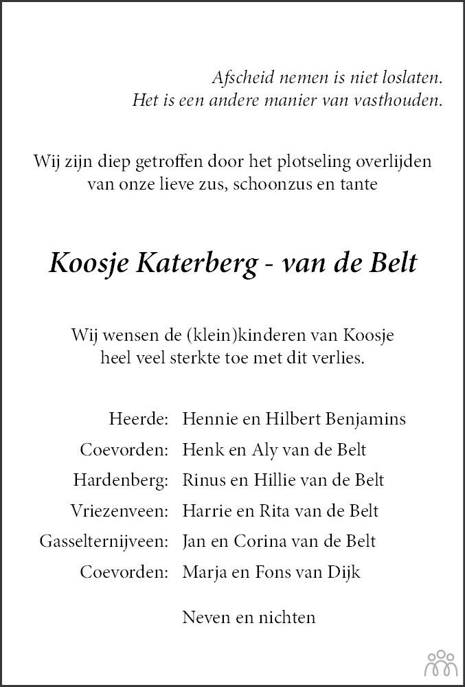 Overlijdensbericht van Jacoba (Koosje) Katerberg-van de Belt in Dagblad van het Noorden