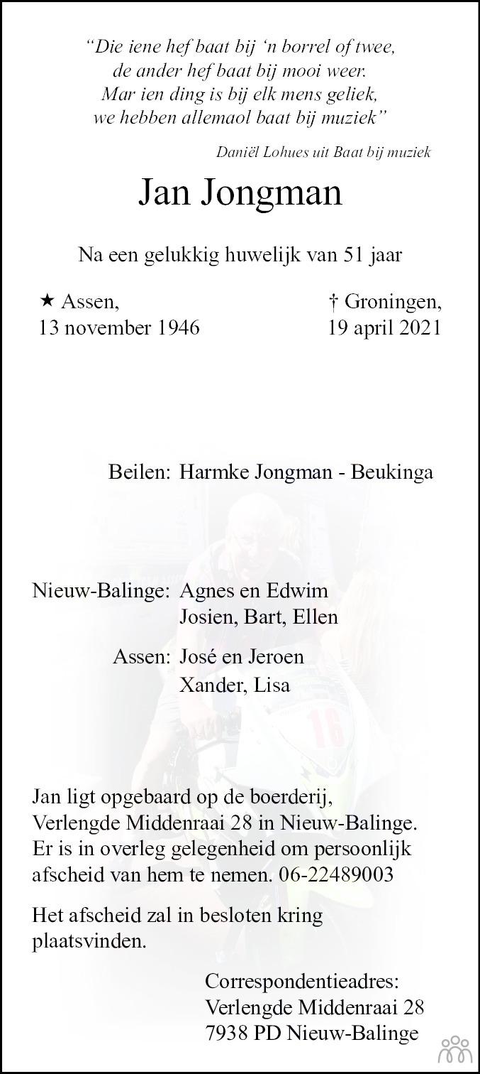 Overlijdensbericht van Jan Jongman in Dagblad van het Noorden