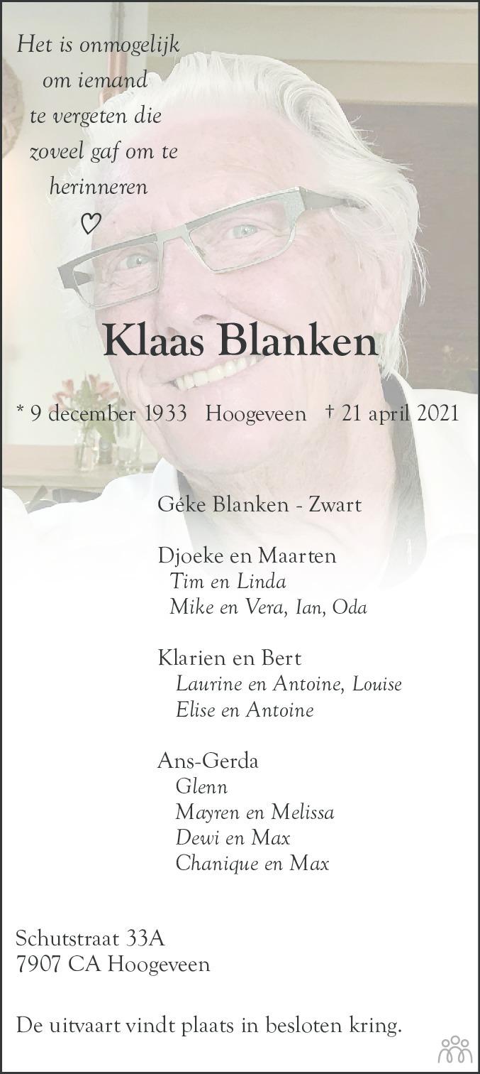 Overlijdensbericht van Klaas Blanken in Hoogeveensche Courant