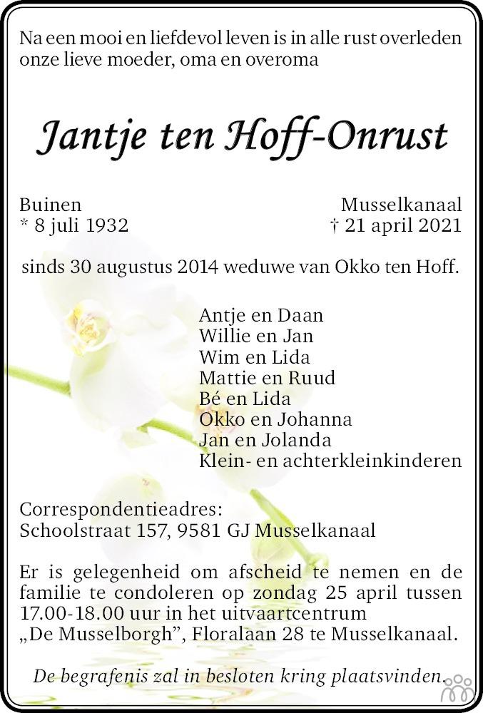 Overlijdensbericht van Jantje ten Hoff-Onrust in Dagblad van het Noorden