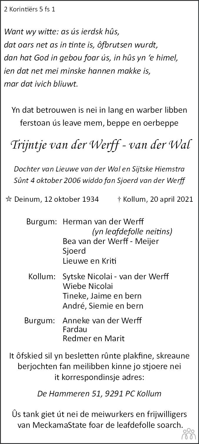 Overlijdensbericht van Trijntje van der Werff-van der Wal in Leeuwarder Courant