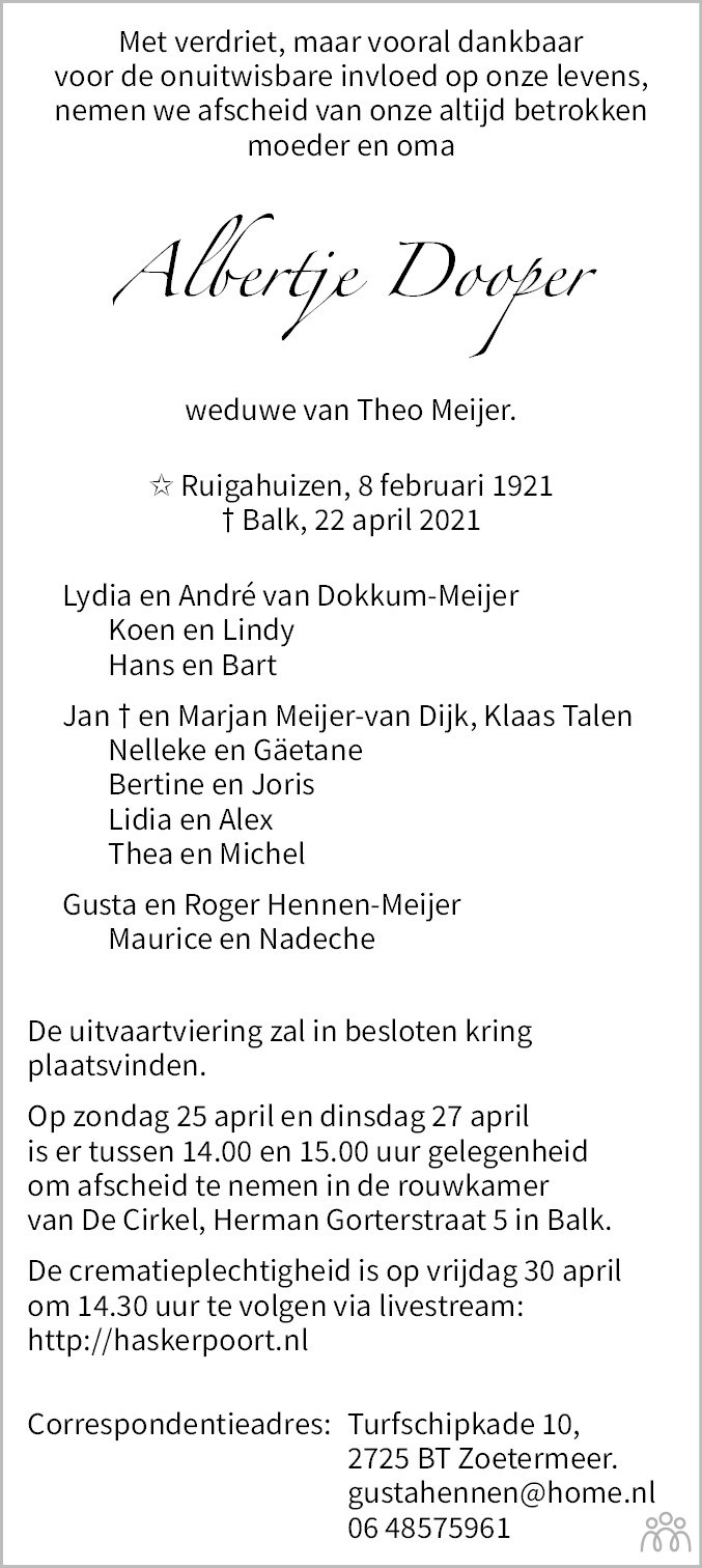 Overlijdensbericht van Albertje Meijer-Dooper in Leeuwarder Courant