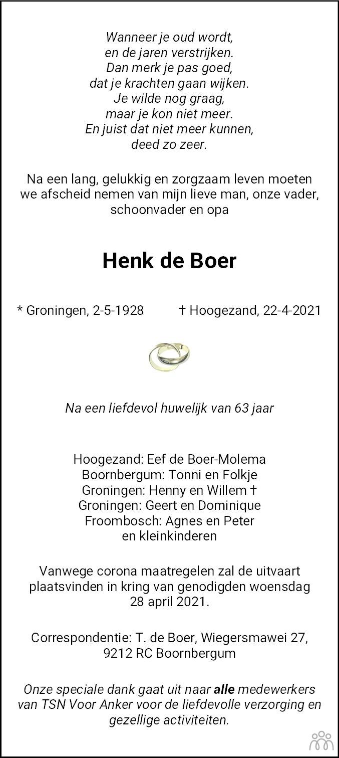 Overlijdensbericht van Henk de Boer in Dagblad van het Noorden