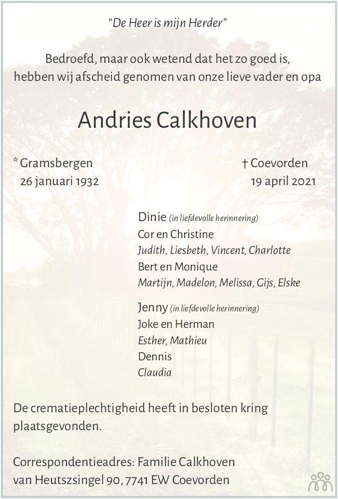 Overlijdensbericht van Andries Calkhoven in Coevorden Huis aan Huis