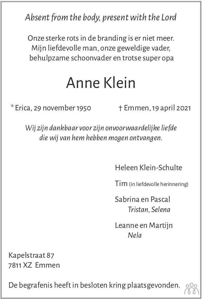 Overlijdensbericht van Anne Klein in Emmen Nu