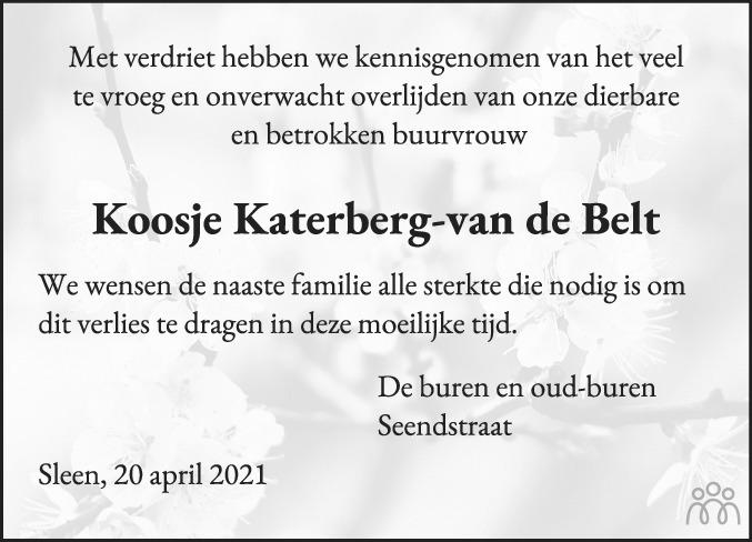 Overlijdensbericht van Jacoba (Koosje) Katerberg-van de Belt in Coevorden Huis aan Huis