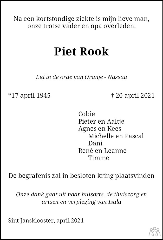 Overlijdensbericht van Piet Rook in Steenwijker Courant