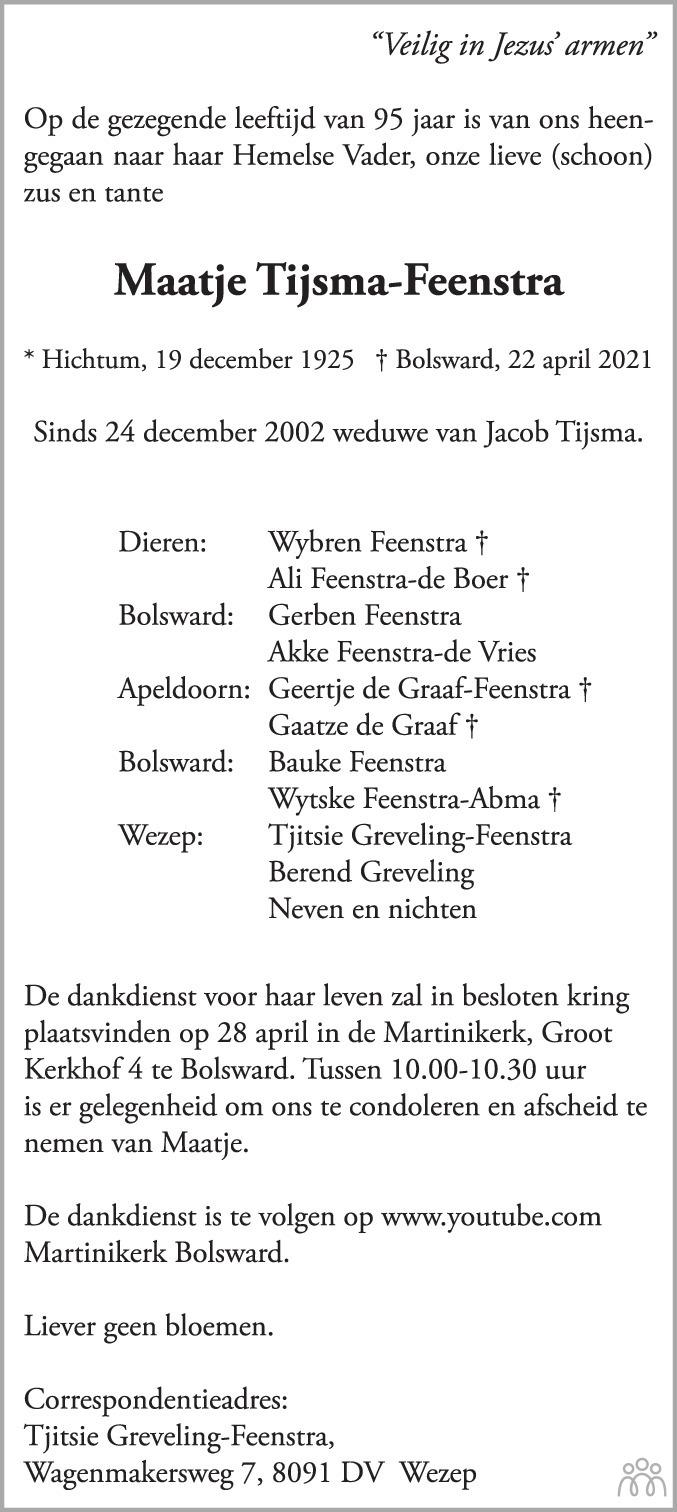 Overlijdensbericht van Maatje Tijsma-Feenstra in Leeuwarder Courant