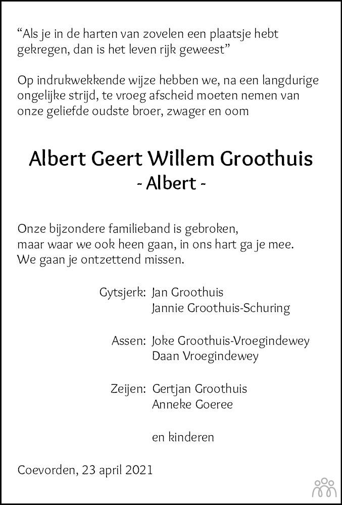 Overlijdensbericht van Albert Geert Willem Groothuis in Dagblad van het Noorden