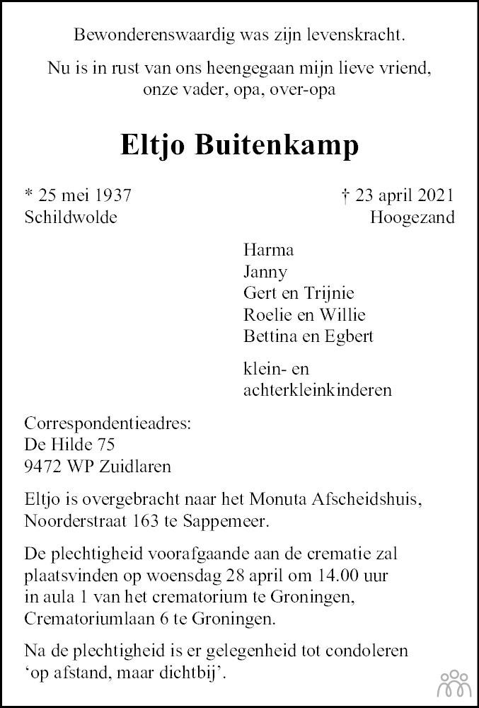 Overlijdensbericht van Eltjo Buitenkamp in Dagblad van het Noorden