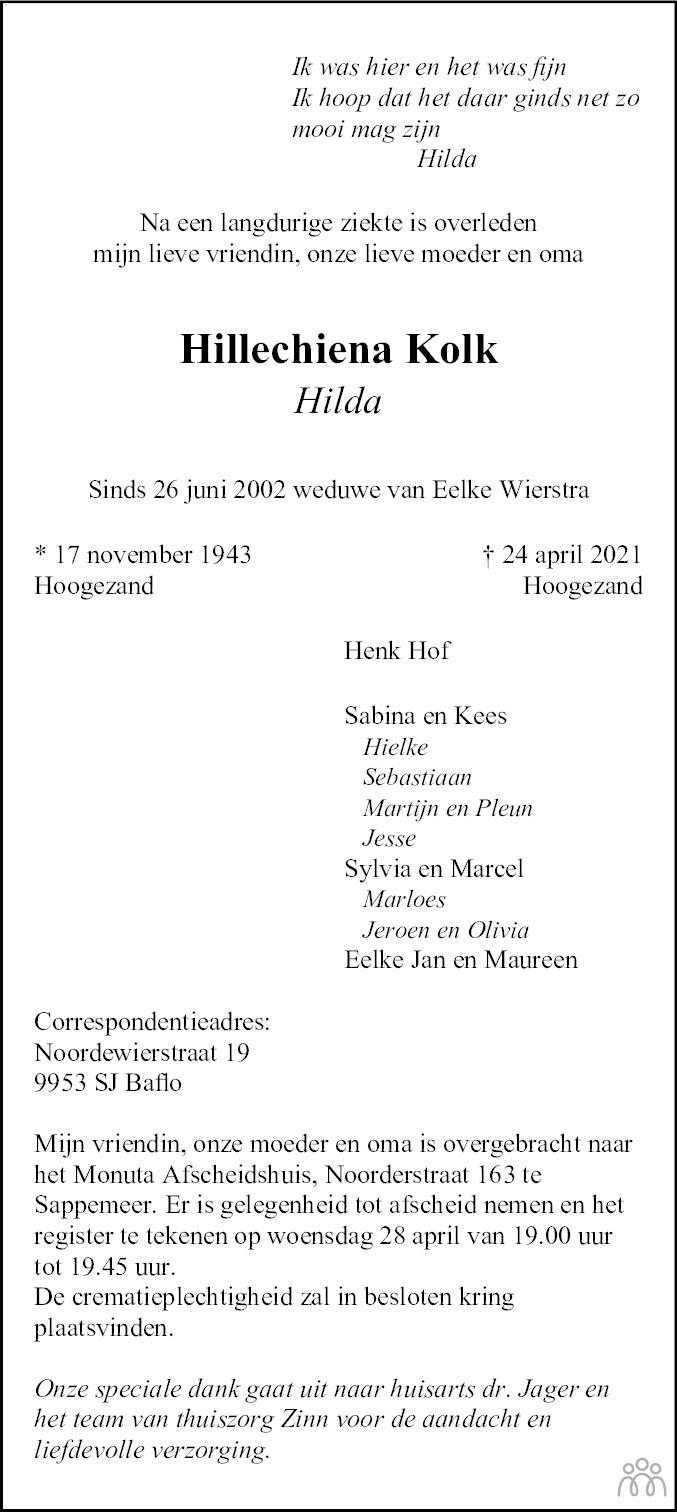 Overlijdensbericht van Hillechiena (Hilda) Kolk in Dagblad van het Noorden
