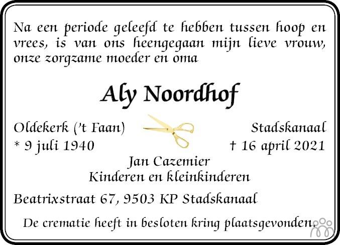 Overlijdensbericht van Aly Noordhof in Kanaalstreek/Ter Apeler Courant