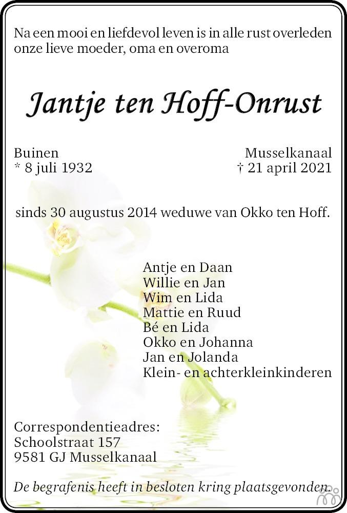 Overlijdensbericht van Jantje ten Hoff-Onrust in Kanaalstreek/Ter Apeler Courant