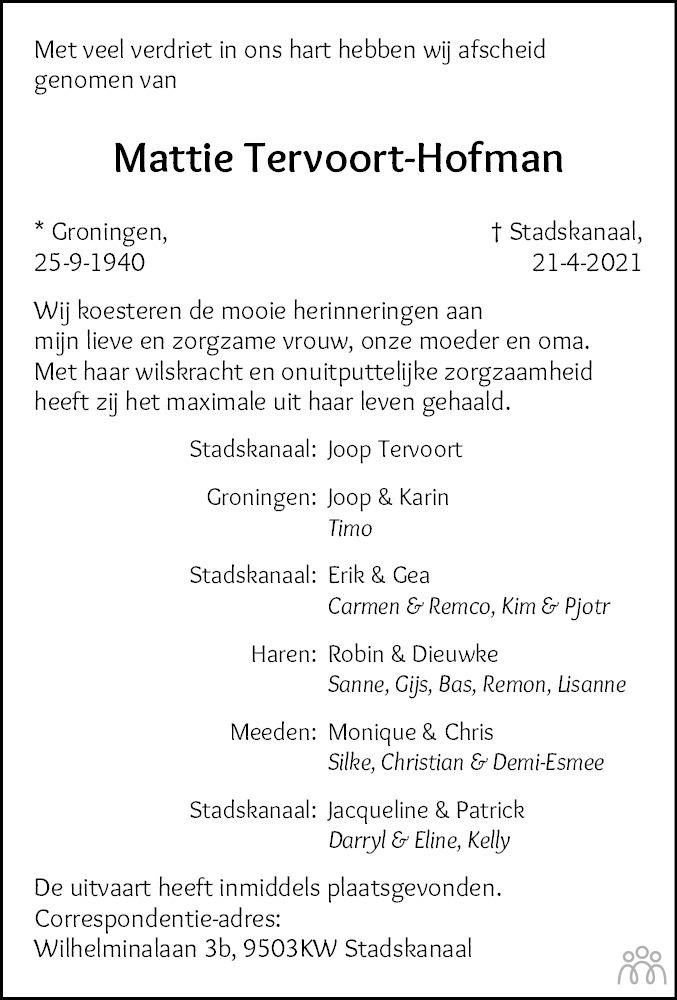 Overlijdensbericht van Mattie Tervoort-Hofman in Kanaalstreek/Ter Apeler Courant