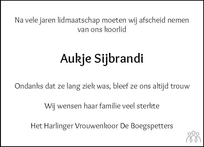 Overlijdensbericht van Aukje Sijbrandi-Greijdanus in Franeker Courant