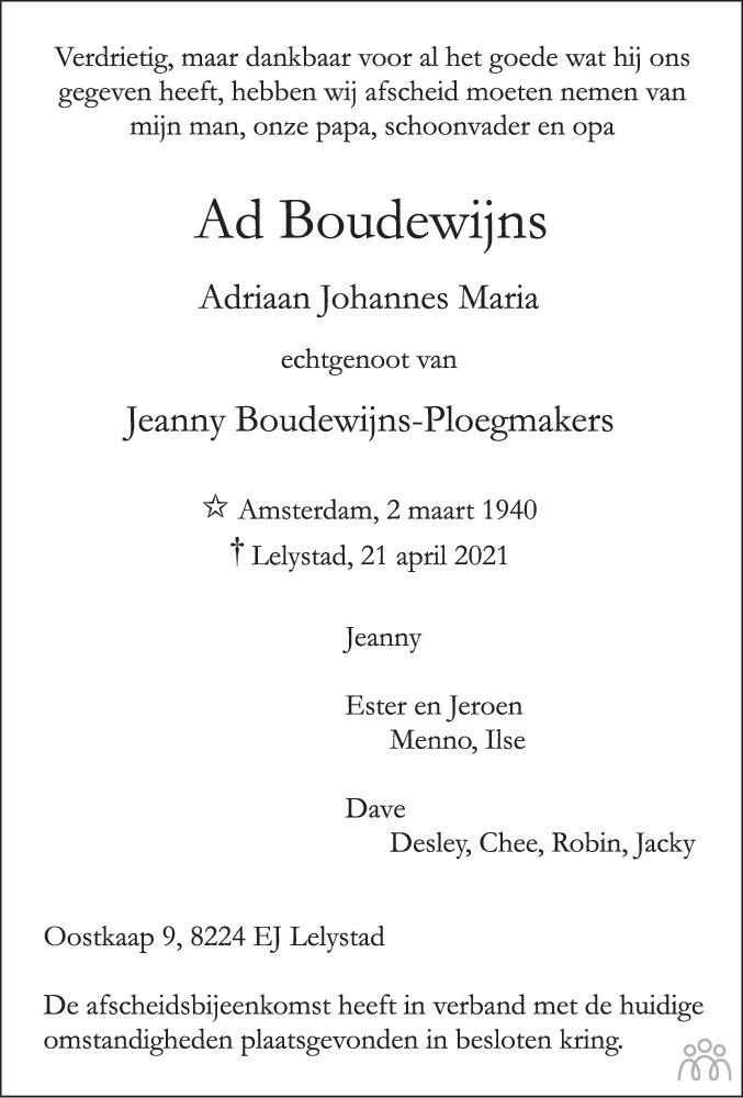 Overlijdensbericht van Adriaan Johannes Maria (Ad) Boudewijns in Flevopost Dronten