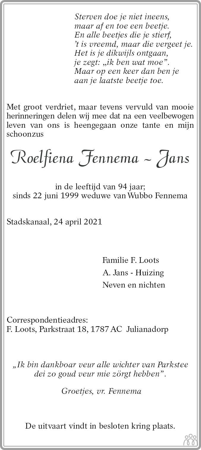 Overlijdensbericht van Roelfiena Fennema-Jans in Kanaalstreek/Ter Apeler Courant
