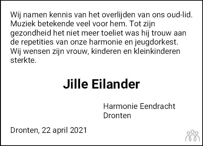 Overlijdensbericht van Jille Hendrik Eilander in Flevopost Dronten