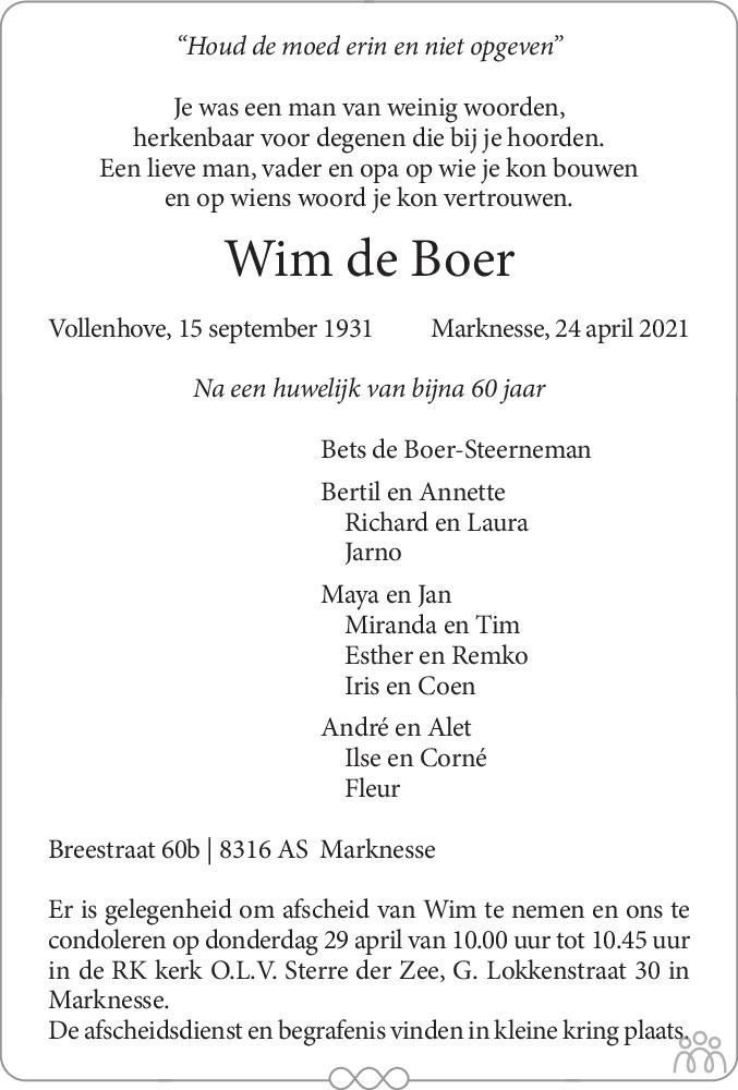 Overlijdensbericht van Wim de Boer in Flevopost Dronten