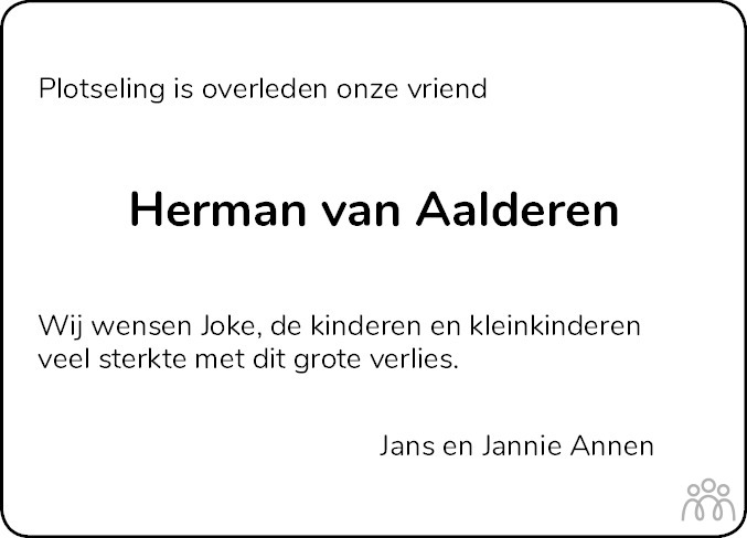 Overlijdensbericht van Hermannus (Mans) van Aalderen in Hoogeveensche Courant