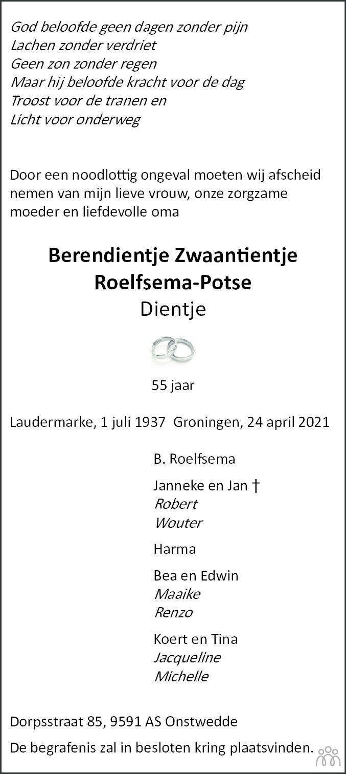 Overlijdensbericht van Berendientje Zwaantientje (Dientje) Roelfsema-Potse in Dagblad van het Noorden