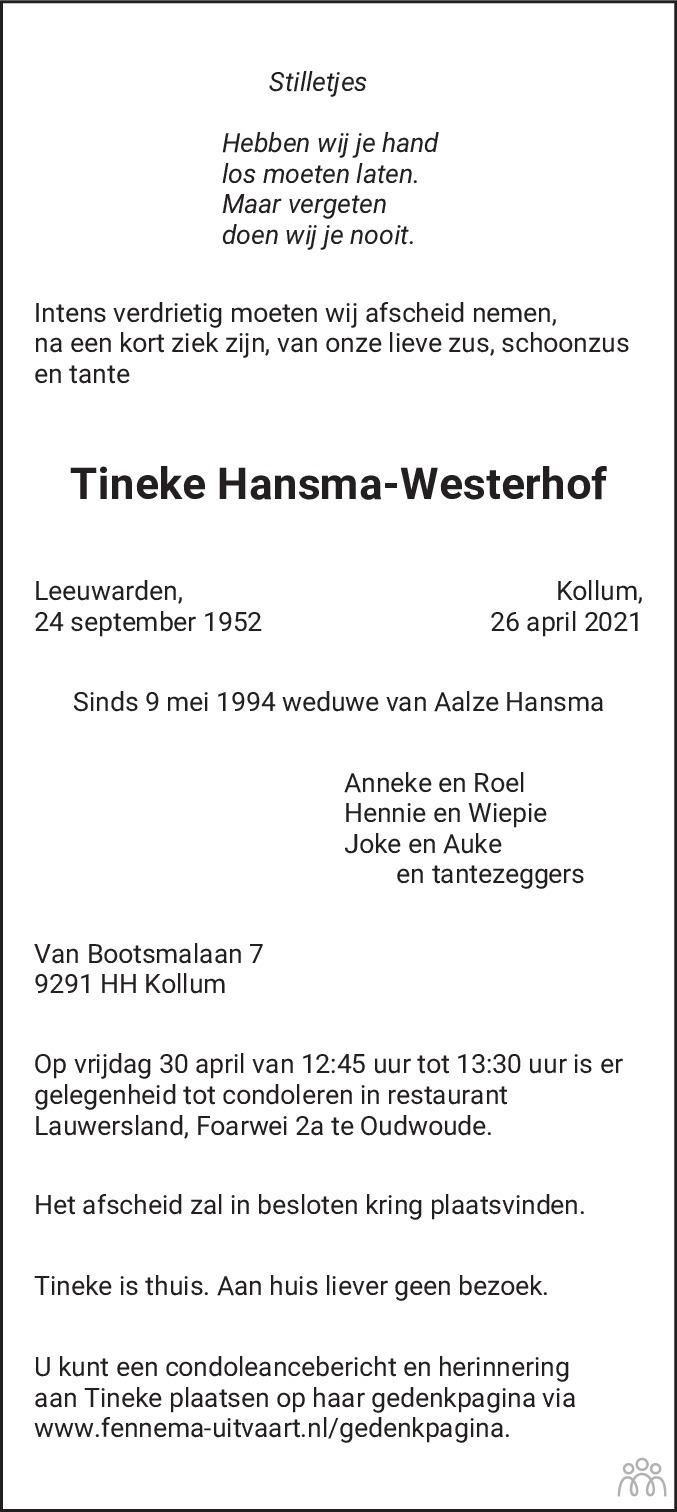 Overlijdensbericht van Tineke Hansma-Westerhof in Leeuwarder Courant