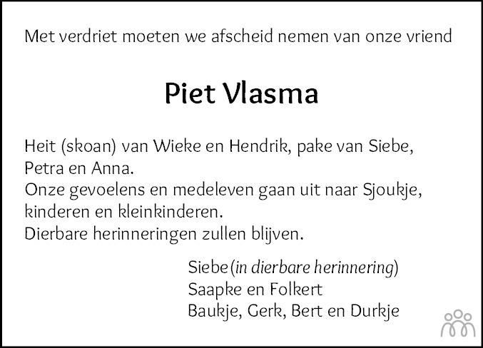 Overlijdensbericht van Piet Vlasma in Dokkum Kollum Combinatie