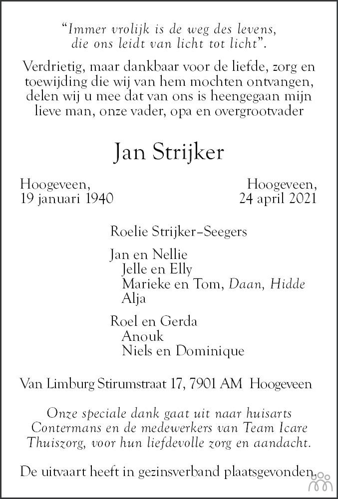 Overlijdensbericht van Jan Strijker in Hoogeveensche Courant