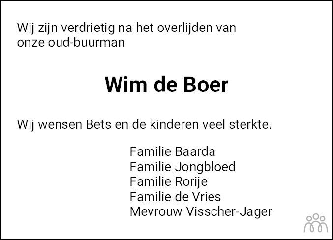 Overlijdensbericht van Wim de Boer in Noordoostpolder
