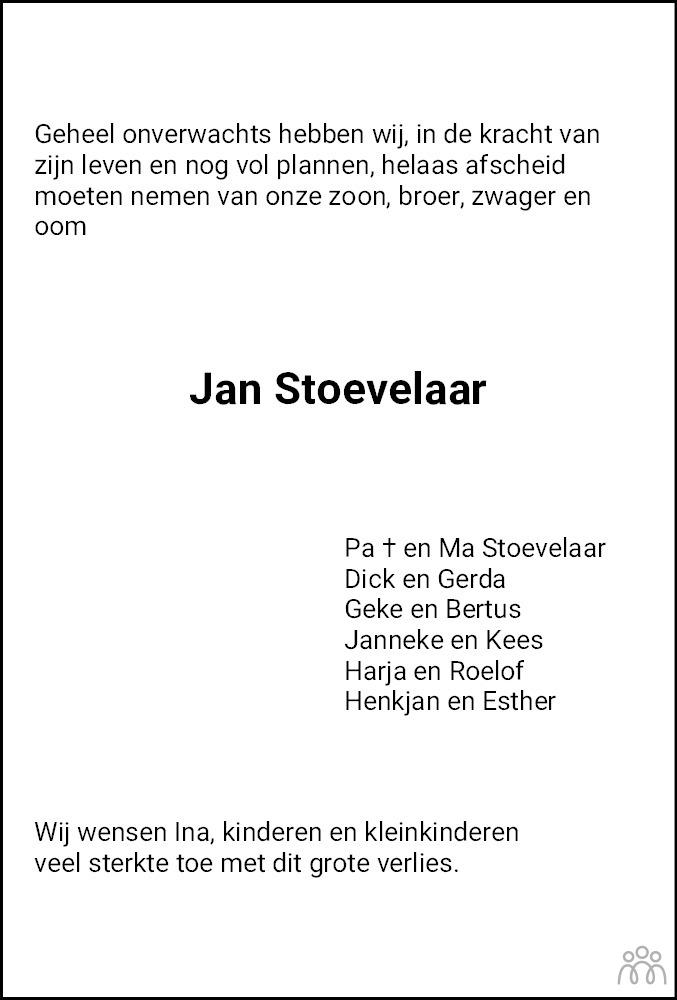 Overlijdensbericht van Jan Stoevelaar in Hoogeveensche Courant