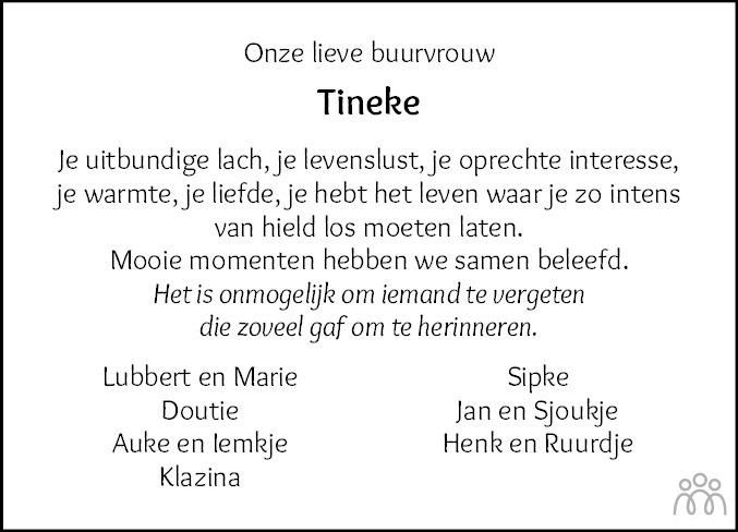 Overlijdensbericht van Tineke Hansma-Westerhof in Dokkum Kollum Combinatie