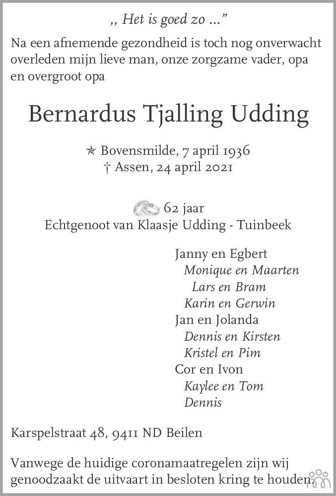 Overlijdensbericht van Bernardus Tjalling Udding in Dagblad van het Noorden