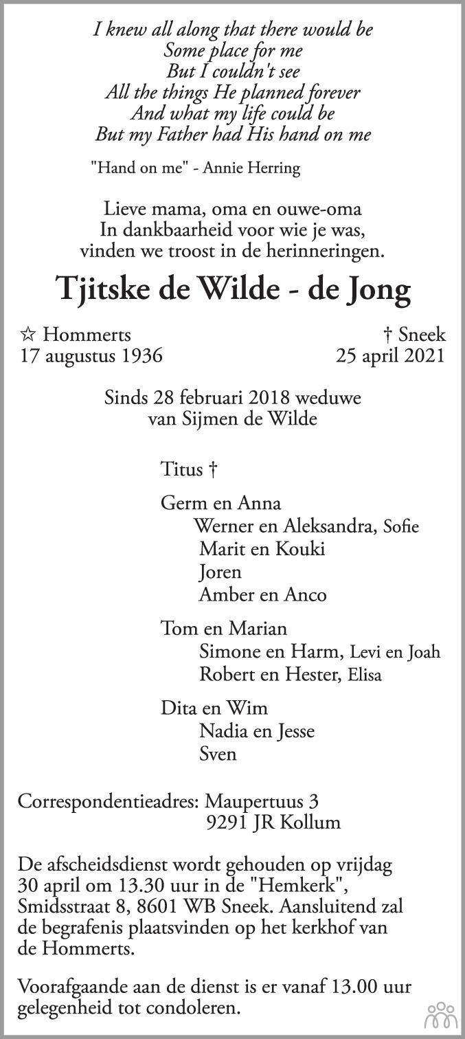 Overlijdensbericht van Tjitske de Wilde-de Jong in Leeuwarder Courant