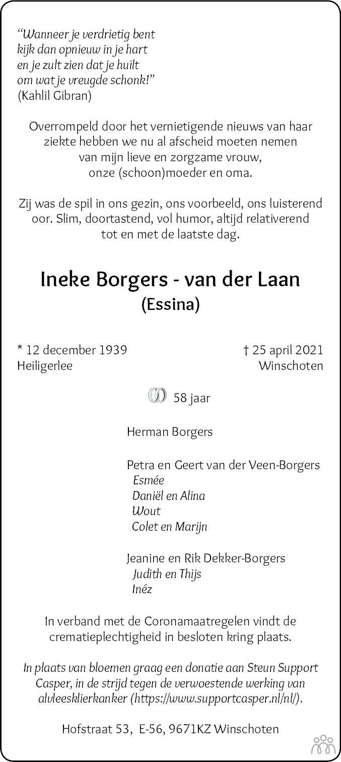 Overlijdensbericht van Ineke (Essina) Borgers-van der Laan in Dagblad van het Noorden