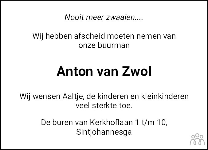 Overlijdensbericht van Josef Anton van Zwol in Leeuwarder Courant