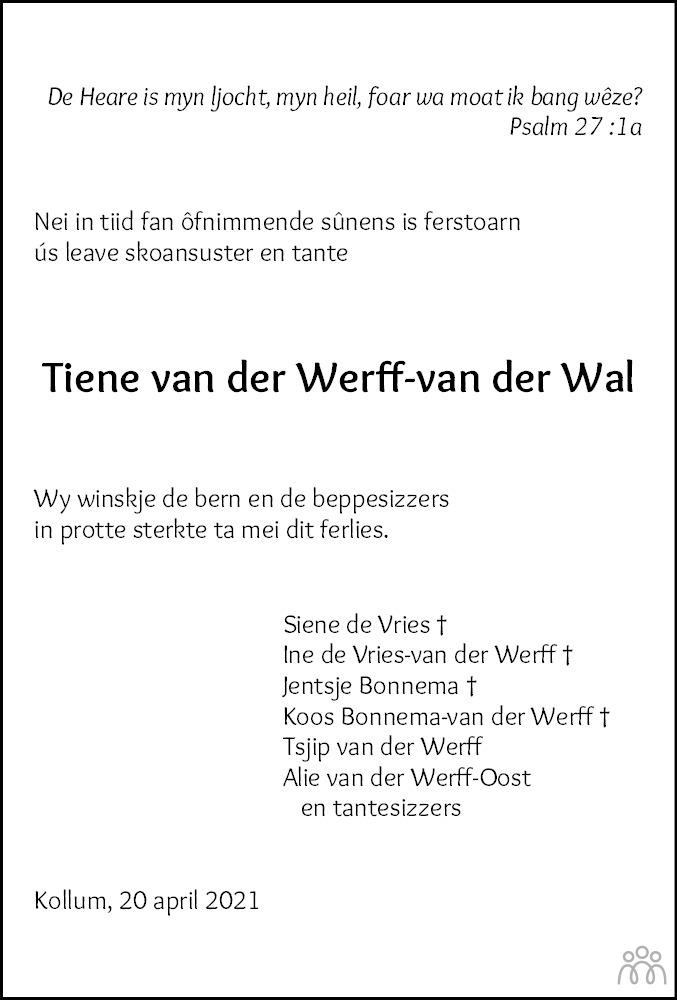 Overlijdensbericht van Tiene van der Werff-van der Wal in Leeuwarder Courant