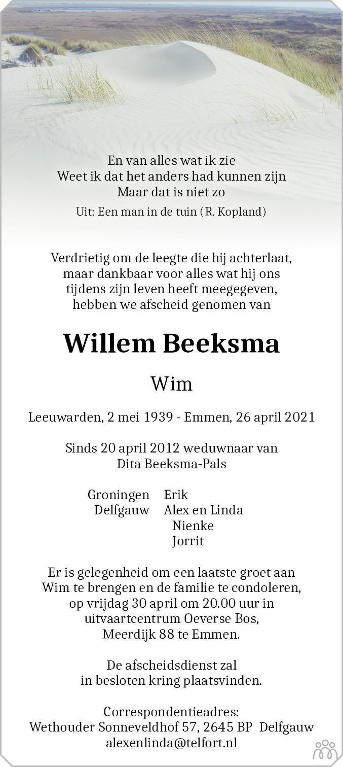 Overlijdensbericht van Willem (Wim) Beeksma in Dagblad van het Noorden