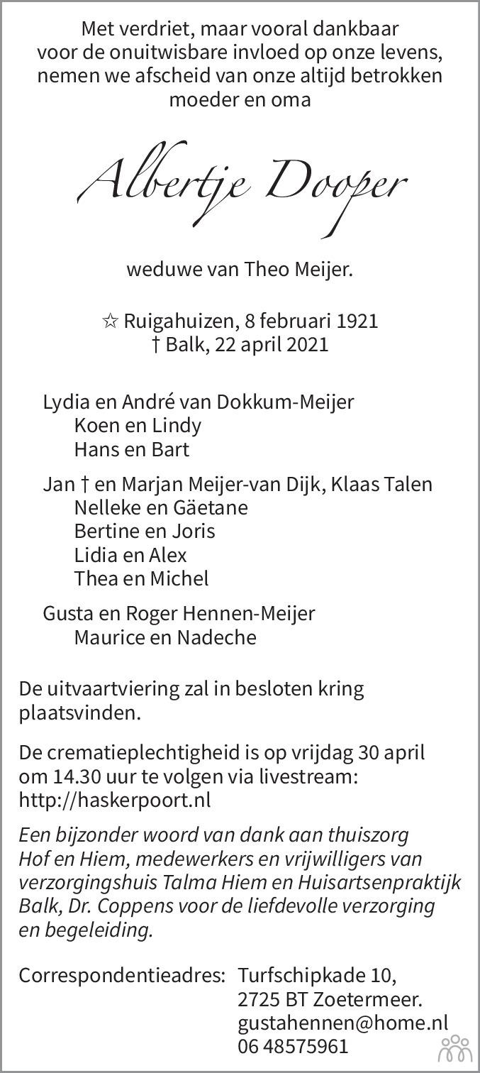 Overlijdensbericht van Albertje Meijer-Dooper in Balkster Courant