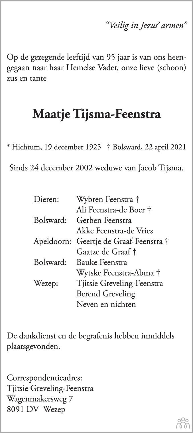 Overlijdensbericht van Maatje Tijsma-Feenstra in Bolswards Nieuwsblad