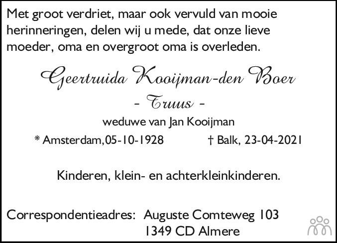 Overlijdensbericht van Geertruida (Truus) Kooijman-den Boer in Balkster Courant