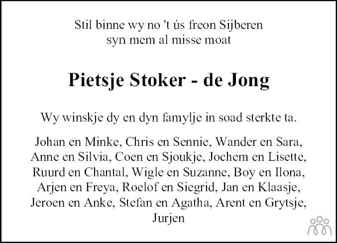 Overlijdensbericht van Pietje (Pietsje) Stoker-de Jong in Sneeker Nieuwsblad