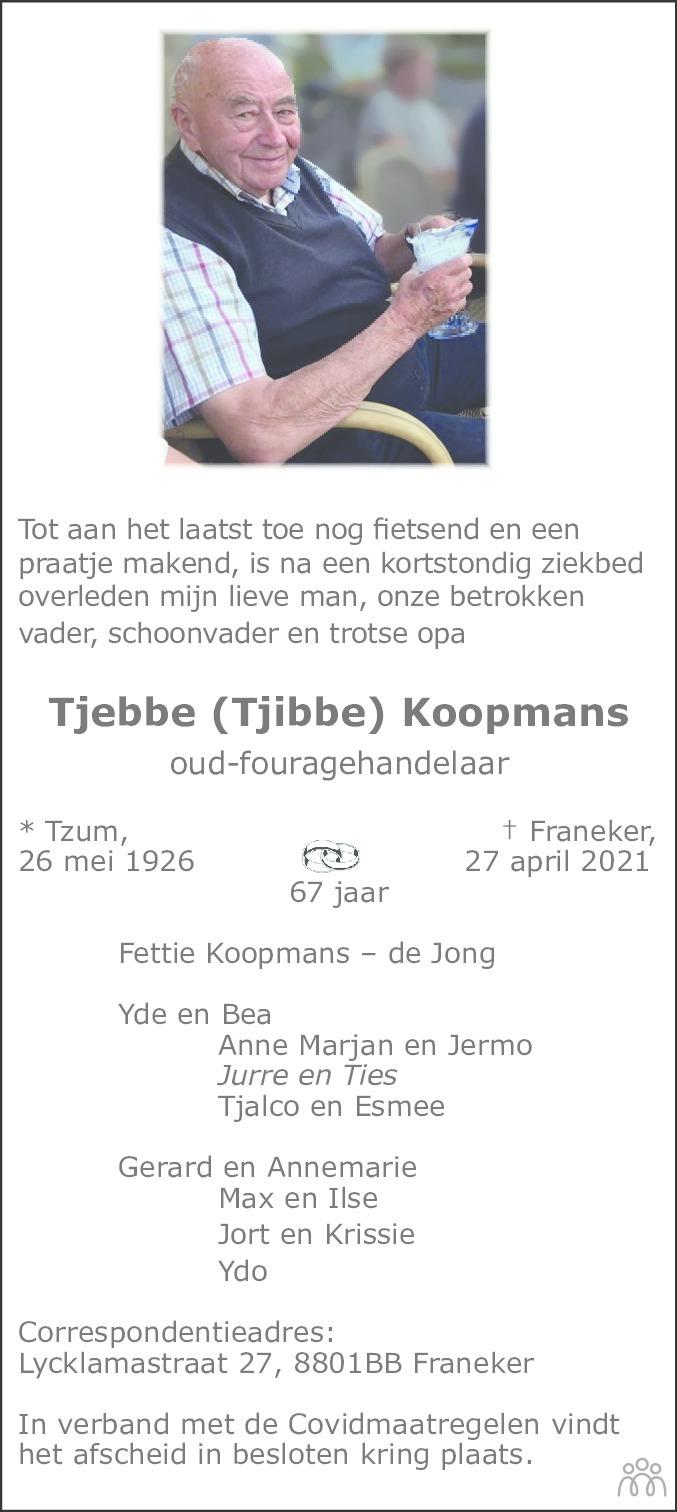 Overlijdensbericht van Tjebbe (Tjibbe) Koopmans in Leeuwarder Courant
